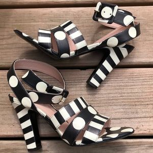 BOUTIQUE MOSCHINO Polka Dot Strappy Heels Sandals